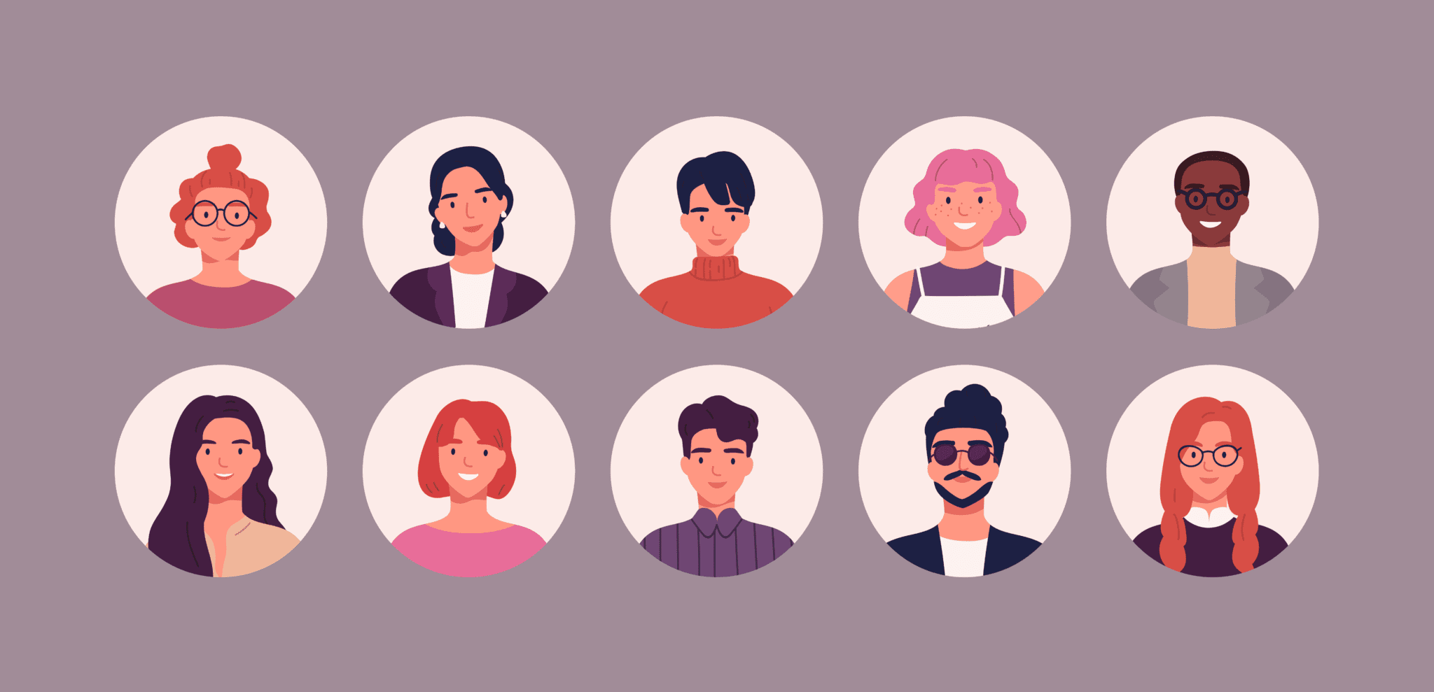 Illustration of a diverse group of people